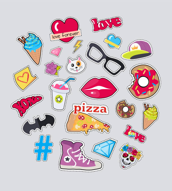 Collection of Things for Teens Vector Stickers Set vector art illustration