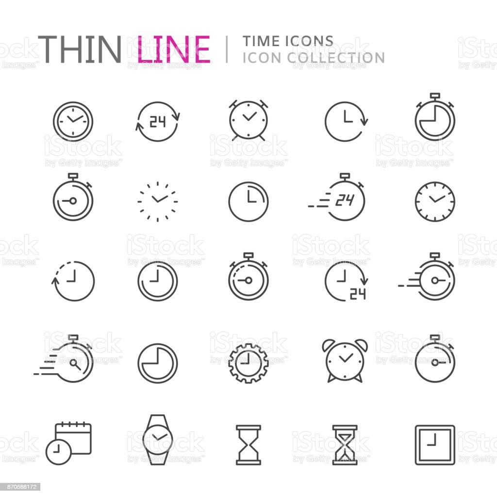 Colección de iconos de delgada línea de tiempo y reloj. - arte vectorial de 24 Hrs - Frase corta libre de derechos