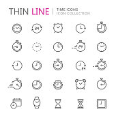 Collection of time and clock thin line icons. Vector eps10