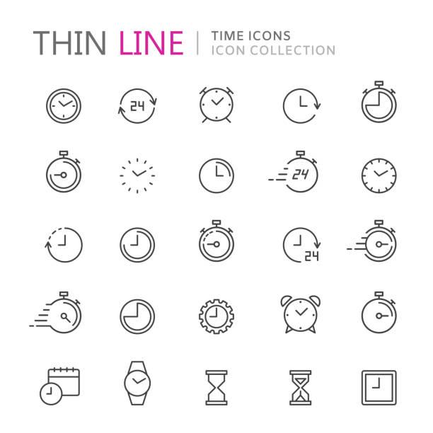 zbiór ikon cienkich linii czasu i zegara. - czas stock illustrations