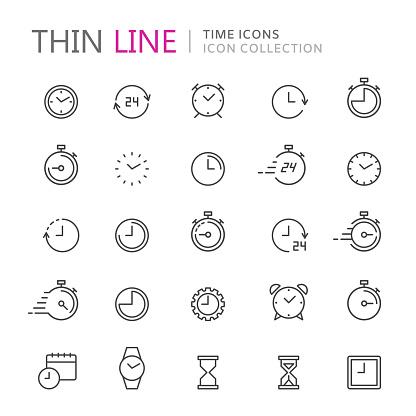 Collection Dicônes De Fine Ligne De Temps Et De Lhorloge Vecteurs libres de droits et plus d'images vectorielles de 24 Hrs - Petite phrase