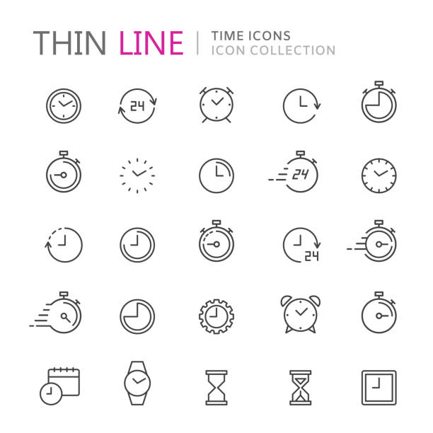 ilustrações de stock, clip art, desenhos animados e ícones de collection of time and clock thin line icons. - data