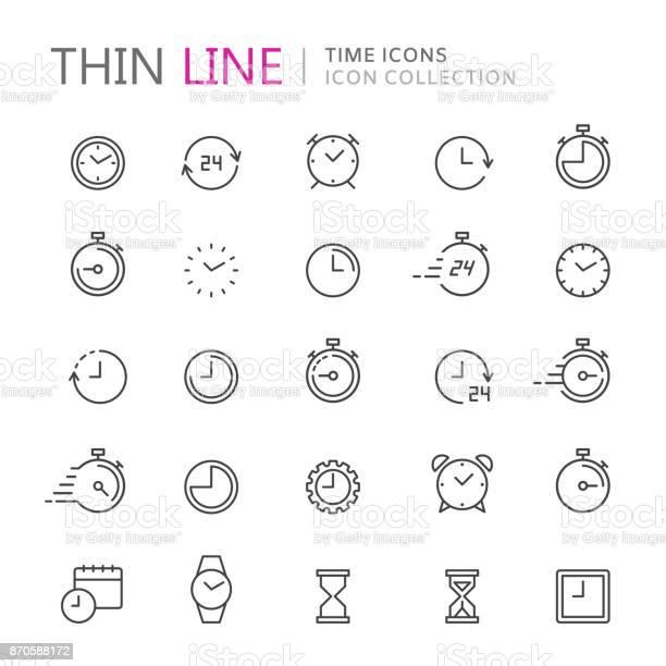 Ilustración de Colección De Iconos De Delgada Línea De Tiempo Y Reloj y más Vectores Libres de Derechos de 24 Hrs - Frase corta