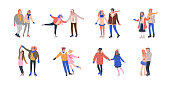 Collection of tiny skating couples having fun on ice rink. Romantic illustration with tiny people in love dressed in winter clothes and holding hands. Isolated vector illustrations in flat style.