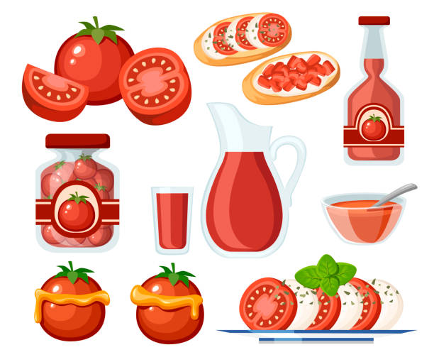 ilustrações de stock, clip art, desenhos animados e ícones de collection of tomato products and dishes. fresh and cooked tomatoes. tomatoes in transparent glass jar and juice in glass jug. flat vector illustration isolated on white background - sauce tomatoes