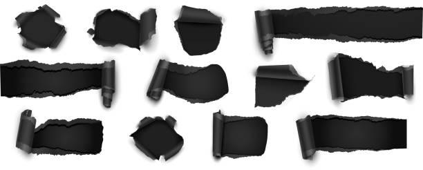 sammlung von zerrissenen schwarzes papier, isolated on white. vektor-illustration - zerrissen stock-grafiken, -clipart, -cartoons und -symbole