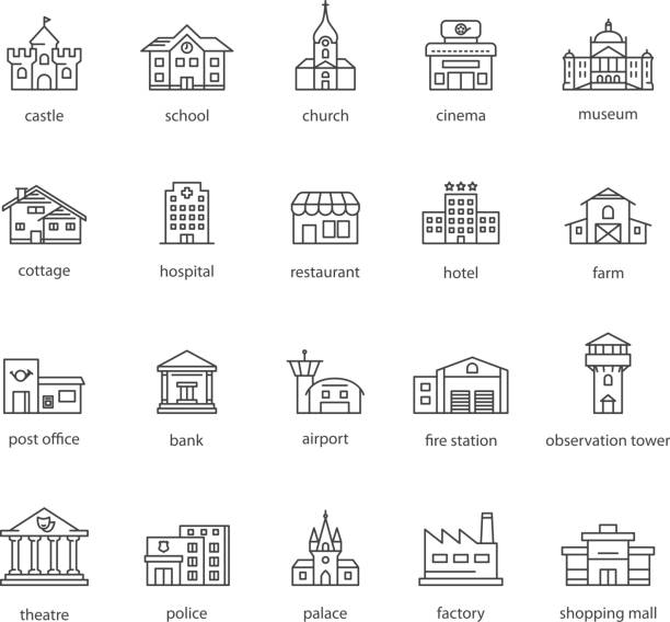 collection of touristic icons collection of touristic icons airport symbols stock illustrations