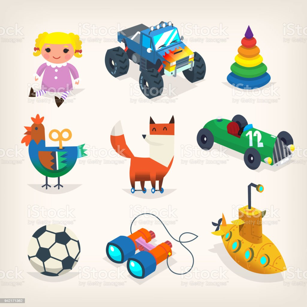 collection of toys for children games and holiday presents for kids isolated vector icons royalty - Presents For Kids