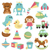 Set of different toys icons. Isolated on white background.
