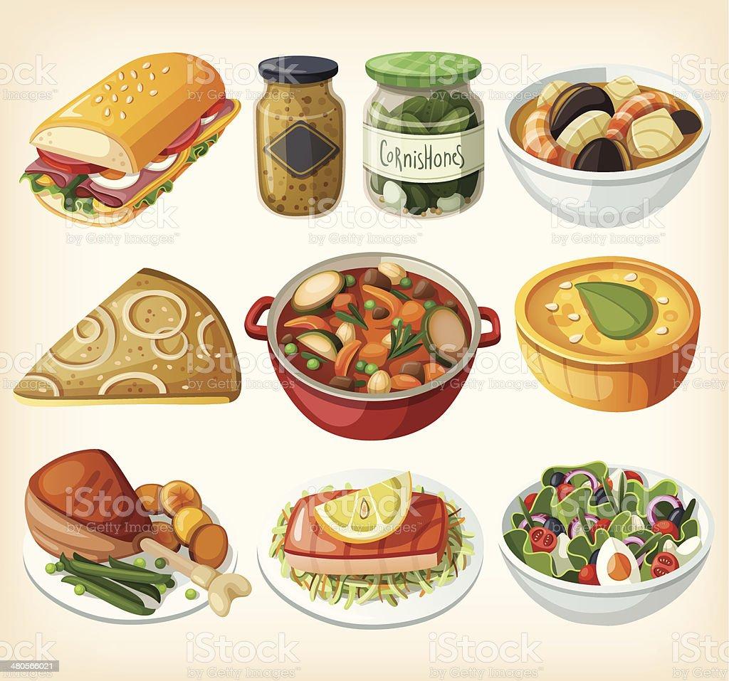 Sammlung von traditionellen französischen Abendessen Mahlzeiten – Vektorgrafik