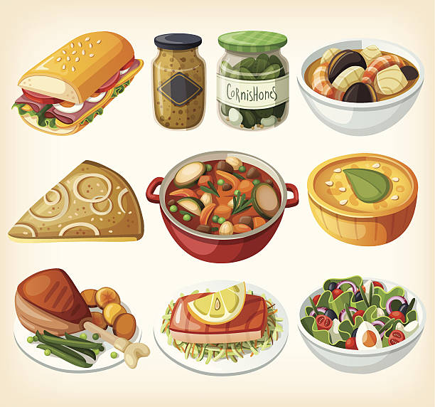 Collection of traditional french dinner meals vector art illustration