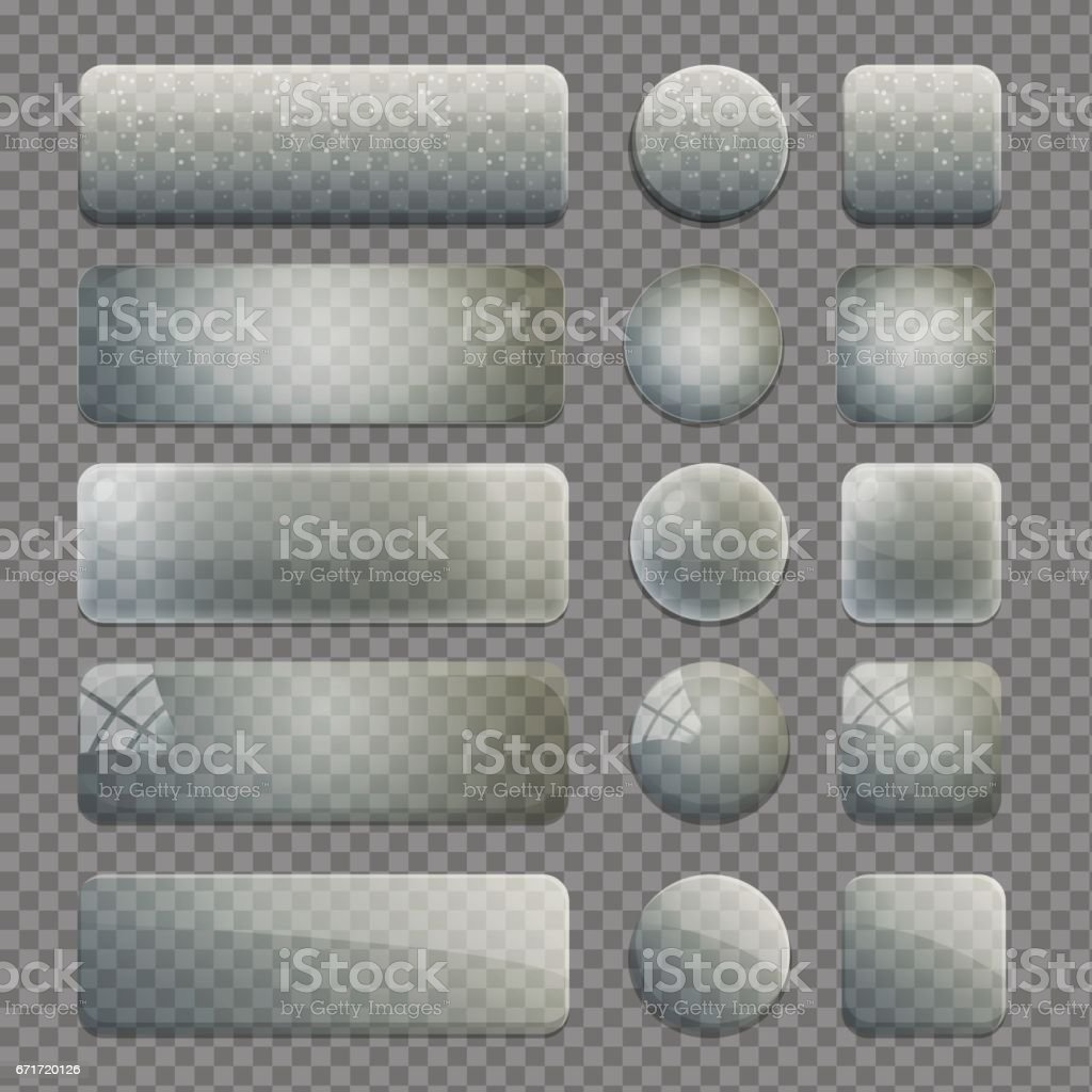 Collection of transparent glass app buttons vector art illustration