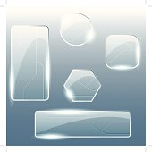 Collection of EPS10 shiny glass and metal banners and buttons. Includes AI CS3 file.
