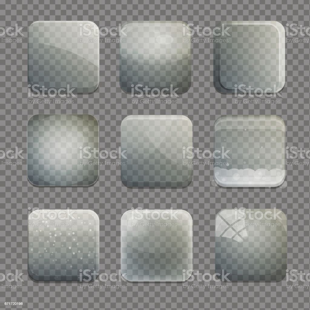 Collection of transparent glass square app buttons vector art illustration