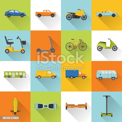 Collection of different transport icons in flat style with long shadow. City transportation symbols set.