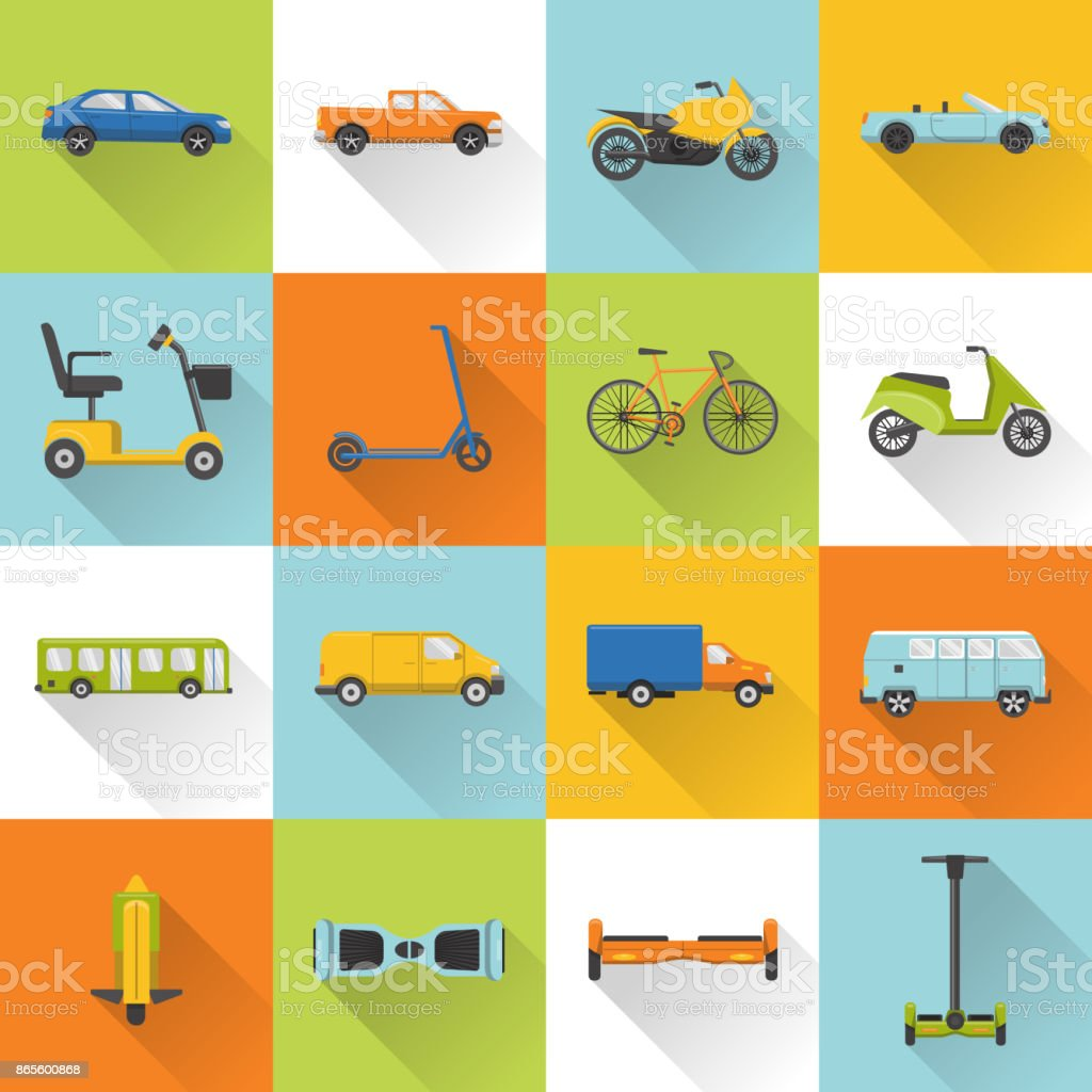 Collection of transport icons with long shadow vector art illustration