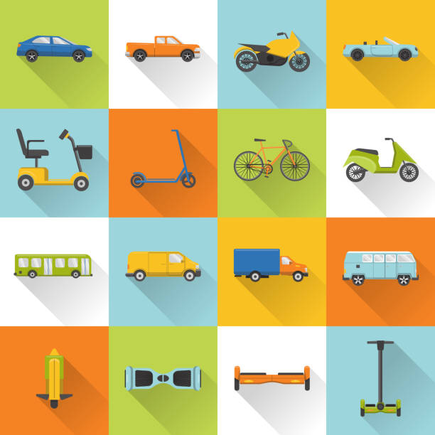 Collection of transport icons with long shadow Collection of different transport icons in flat style with long shadow. City transportation symbols set. convertible stock illustrations