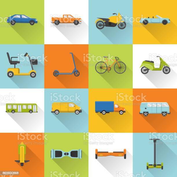 Verzameling Van Vervoer Icons Met Lange Schaduw Stockvectorkunst en meer beelden van Auto
