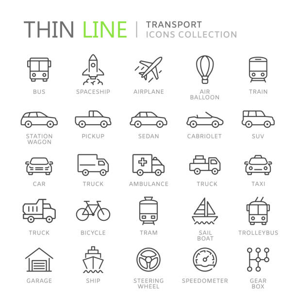 Collection of transport thin line icons Collection of transport line icons. Vector eps8 airplane symbols stock illustrations