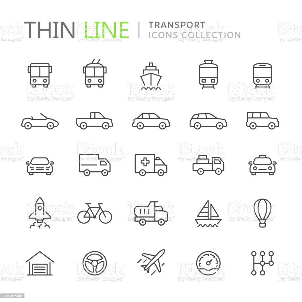 Coleção de ícones de linha fina de transporte vetores de coleção de ícones de linha fina de transporte e mais imagens de aeroporto royalty-free