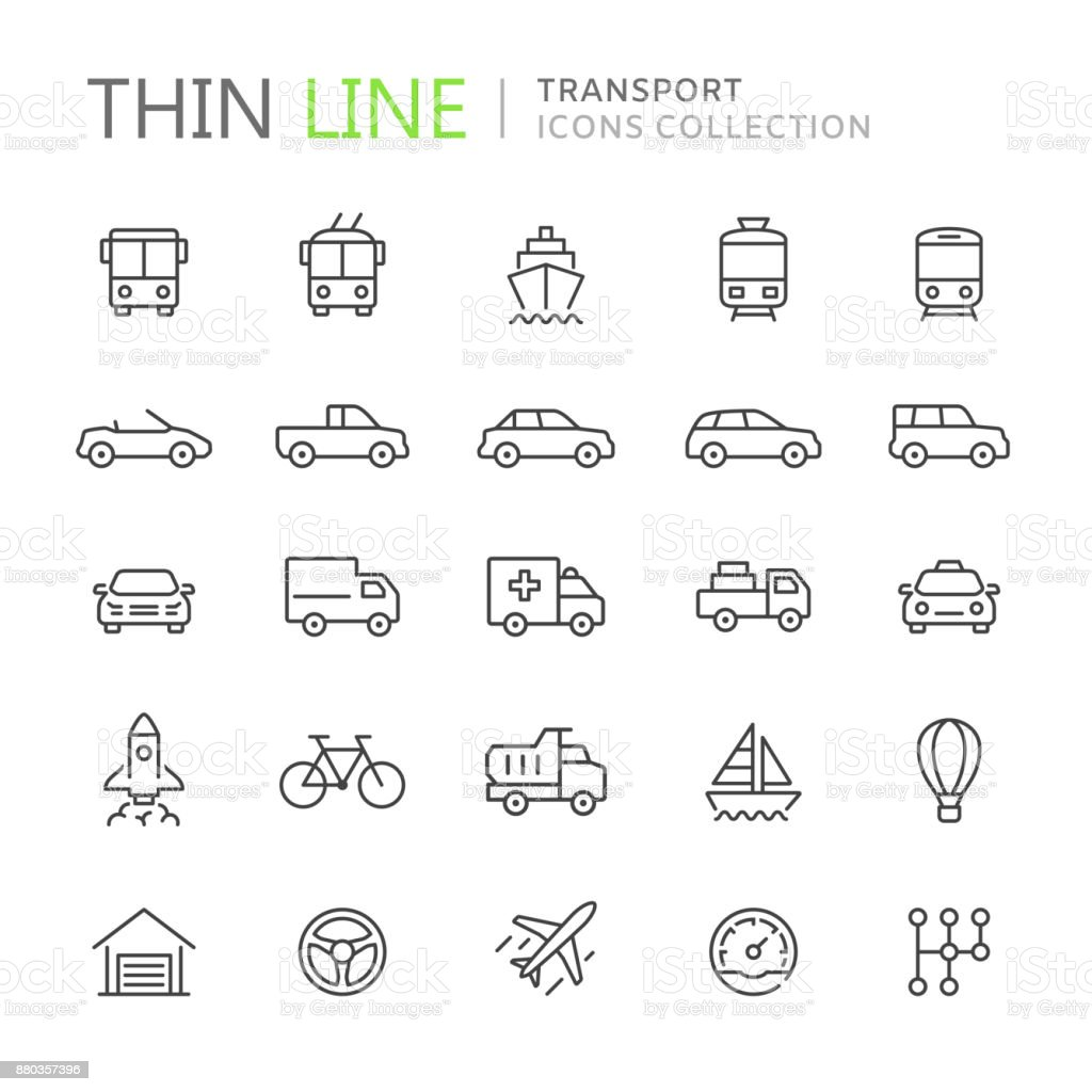 Collection of transport thin line icons vector art illustration