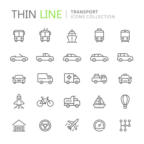 illustrazioni stock, clip art, cartoni animati e icone di tendenza di collection of transport thin line icons - car