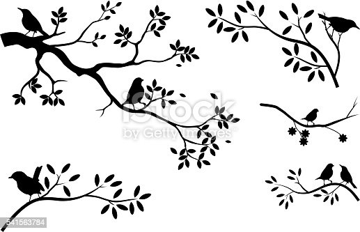 vector illustration ofcollection of tree silhouette with bird