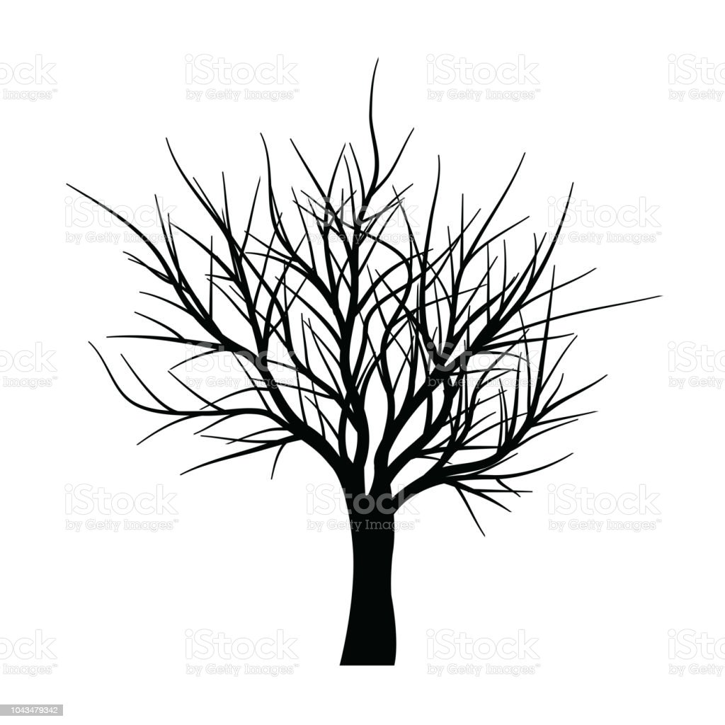 Collection of trees silhouettes vector art illustration