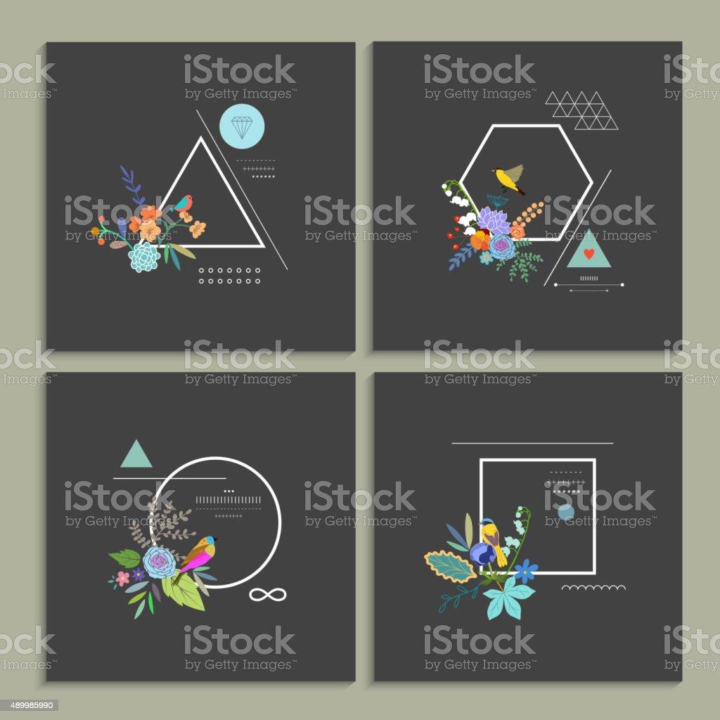 Collection of trendy creative cards.向量藝術插圖