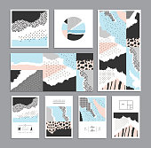 Collection of trendy creative cards with different textures
