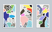 Collection of trendy creative cards with floral elements and different textures. Collage. Design for poster, card, invitation, cover, placard, brochure, flyer. Vector