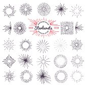 Collection of trendy hand drawn retro sunburst. Bursting rays design elements