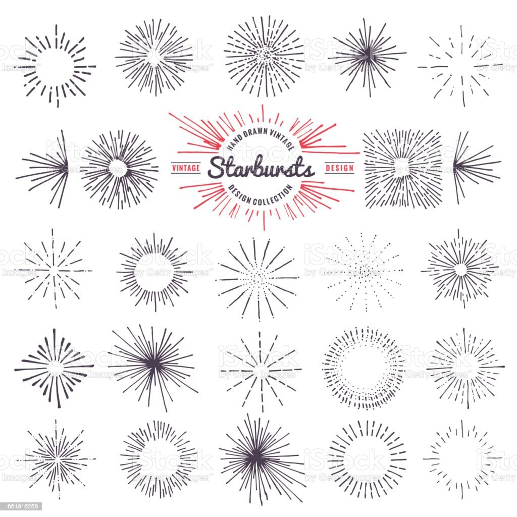 Collection of trendy hand drawn retro sunburst. Bursting rays design elements vector art illustration