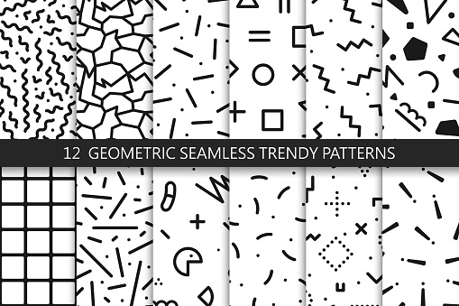 Collection of trendy seamless patterns - fashion 80-90s. Black and white mosaic textures.