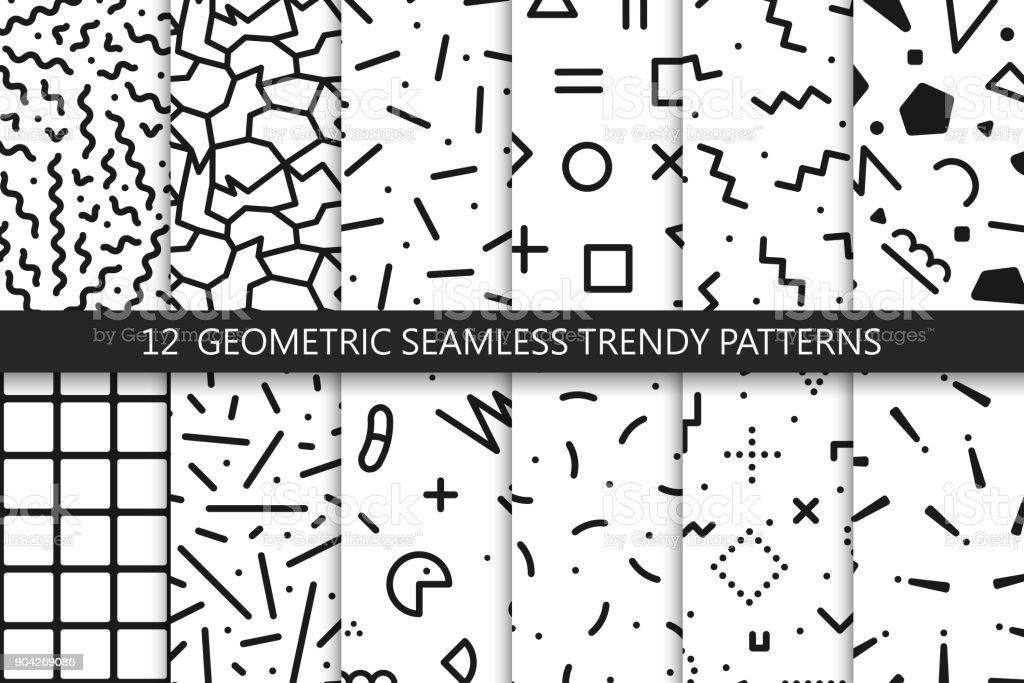Collection of trendy seamless patterns - fashion 80-90s. Black and white mosaic textures. vector art illustration