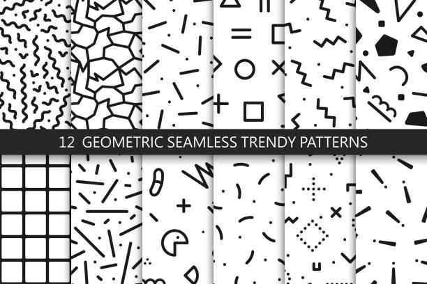 ilustraciones, imágenes clip art, dibujos animados e iconos de stock de colección de patrones sin fisuras de moda - moda de los 80-90. texturas de mosaico blanco y negro. - fondos de moda