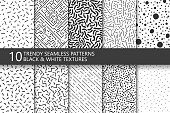Collection of trendy seamless patterns. Retro fashion style 80-90s. Black and white mosaic textures. You can find seamless background in swatches panel.