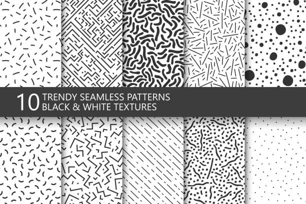Collection of trendy seamless patterns. Retro fashion style 80-90s. Black and white mosaic textures. You can find seamless background in swatches panel. Collection of trendy seamless patterns. Retro fashion style 80-90s. Monochrome mosaic textures. You can find seamless background in swatches panel. funky stock illustrations