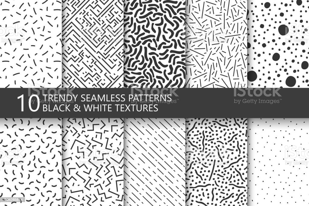 Collection of trendy seamless patterns. Retro fashion style 80-90s. Black and white mosaic textures. You can find seamless background in swatches panel. - ilustração de arte vetorial