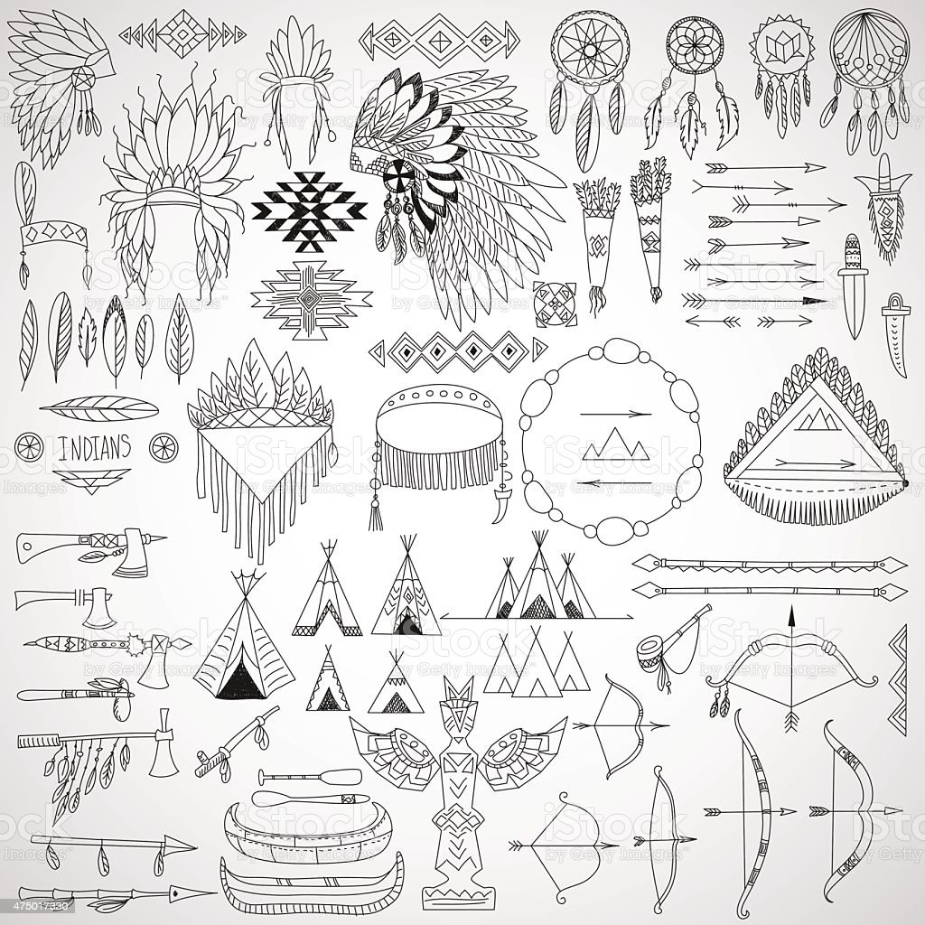 Collection of tribal doodle design elements. vector art illustration