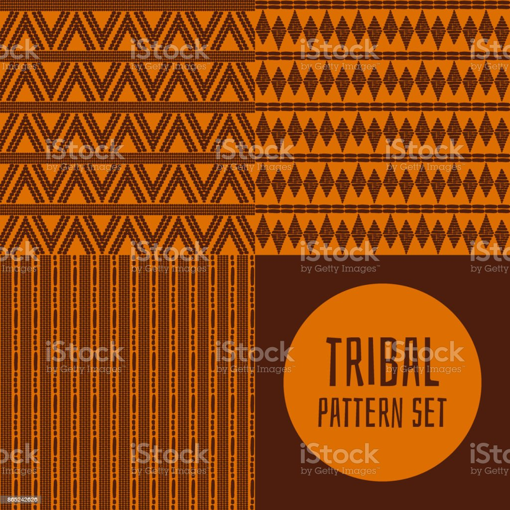 Collection of tribal pattern vector seamless vector art illustration
