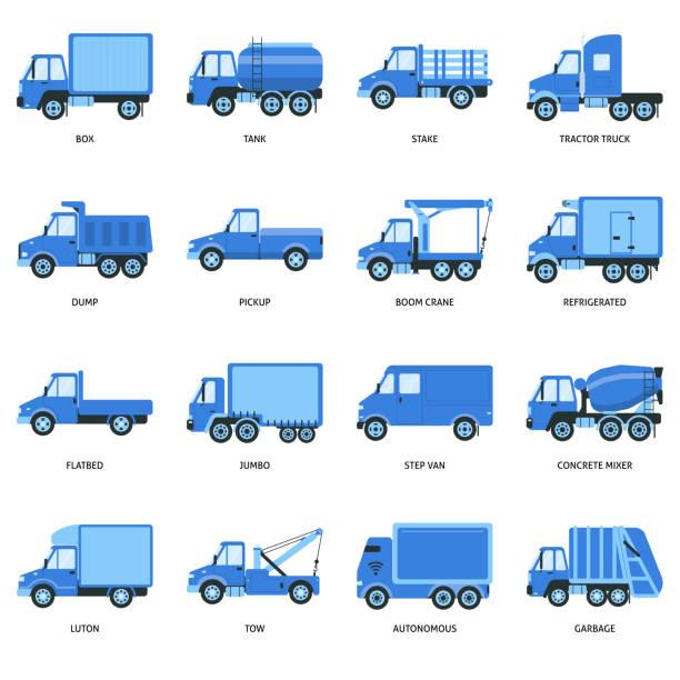 bildbanksillustrationer, clip art samt tecknat material och ikoner med samling av lastbil ikoner i platt stil - traktor pulling