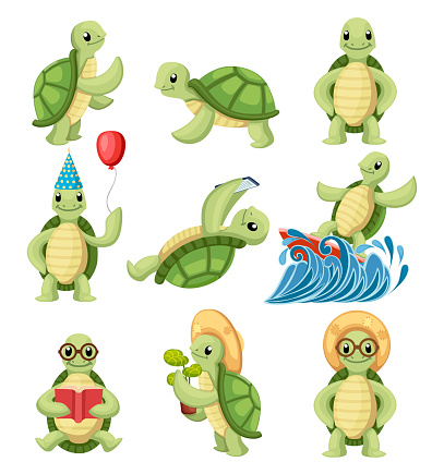 Collection of turtles cartoons characters. Little turtles do different things. Flat vector illustration isolated on white background