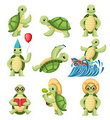 Collection of turtles cartoons characters. Little turtles do different things. Flat vector illustration isolated on white background.
