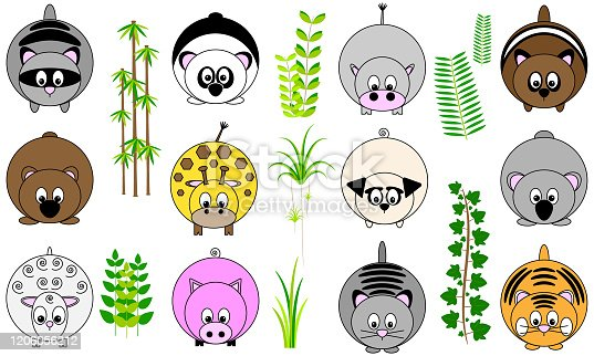 collection of twelve cute funny vector illustrated sticker icon buttons of round animals with tail and paws, and foliage leaves