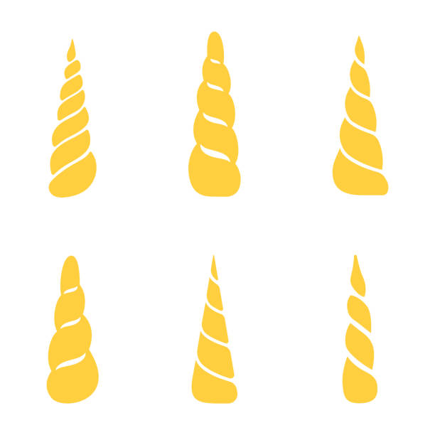 collection of unicorn horns isolated on white background. vector - unicorns stock illustrations