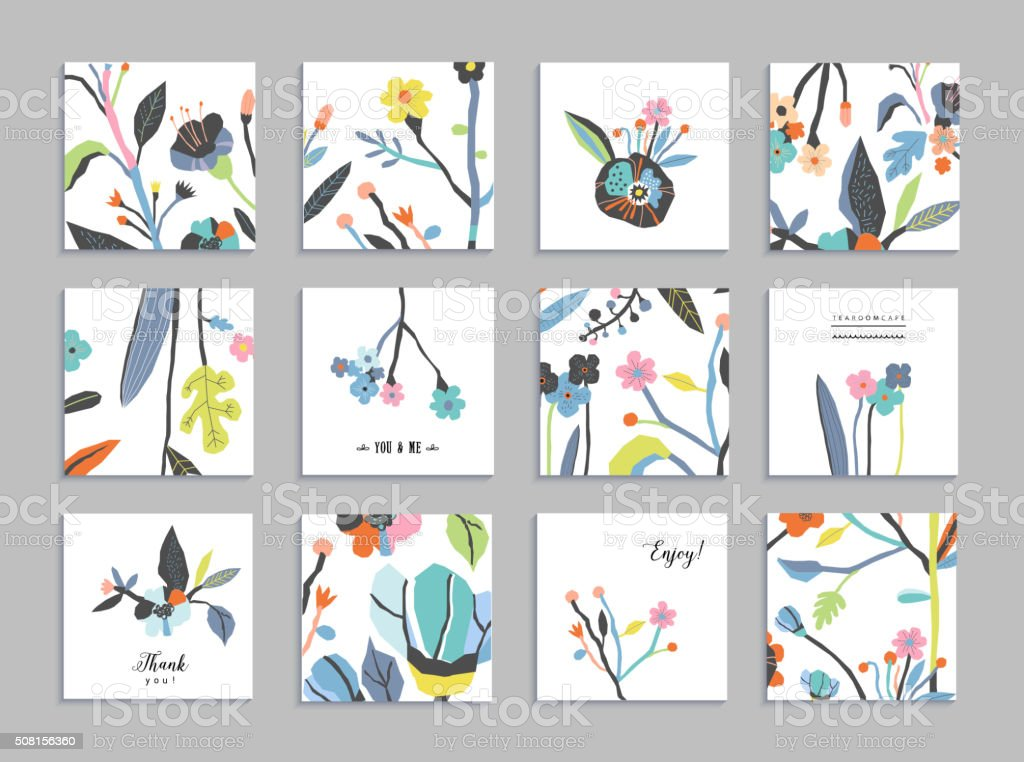 Collection of unusual cards with paper cut flowers - Royalty-free Abstract stock vector