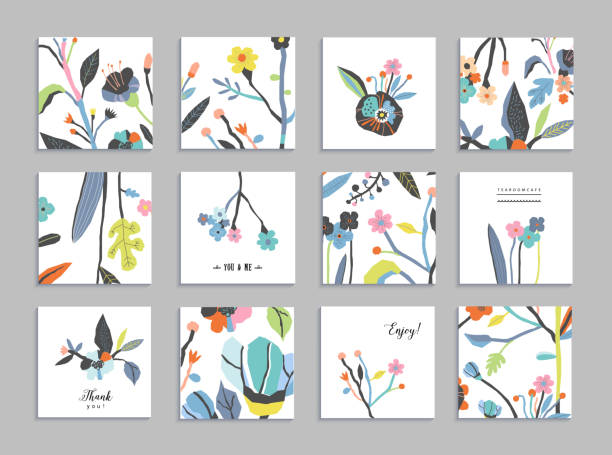 Collection of unusual cards with paper cut flowers Collection of unusual cards with paper cut flowers. Beautiful freehand colorful illustration. Design for poster, card, invitation, placard, brochure, flyer. Isolated birthday designs stock illustrations