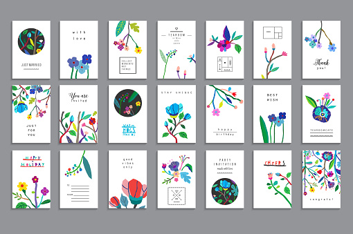 Collection of unusual cards with paper cut flowers