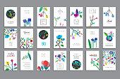のユニークなコレクションのカードの花、紙